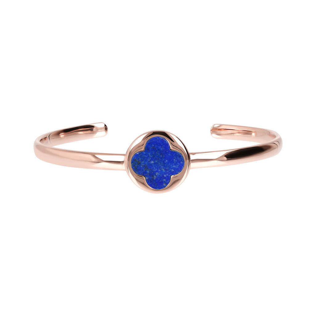 Genune Gemstone Four Leaf Clover Open Bangle LAPIS side