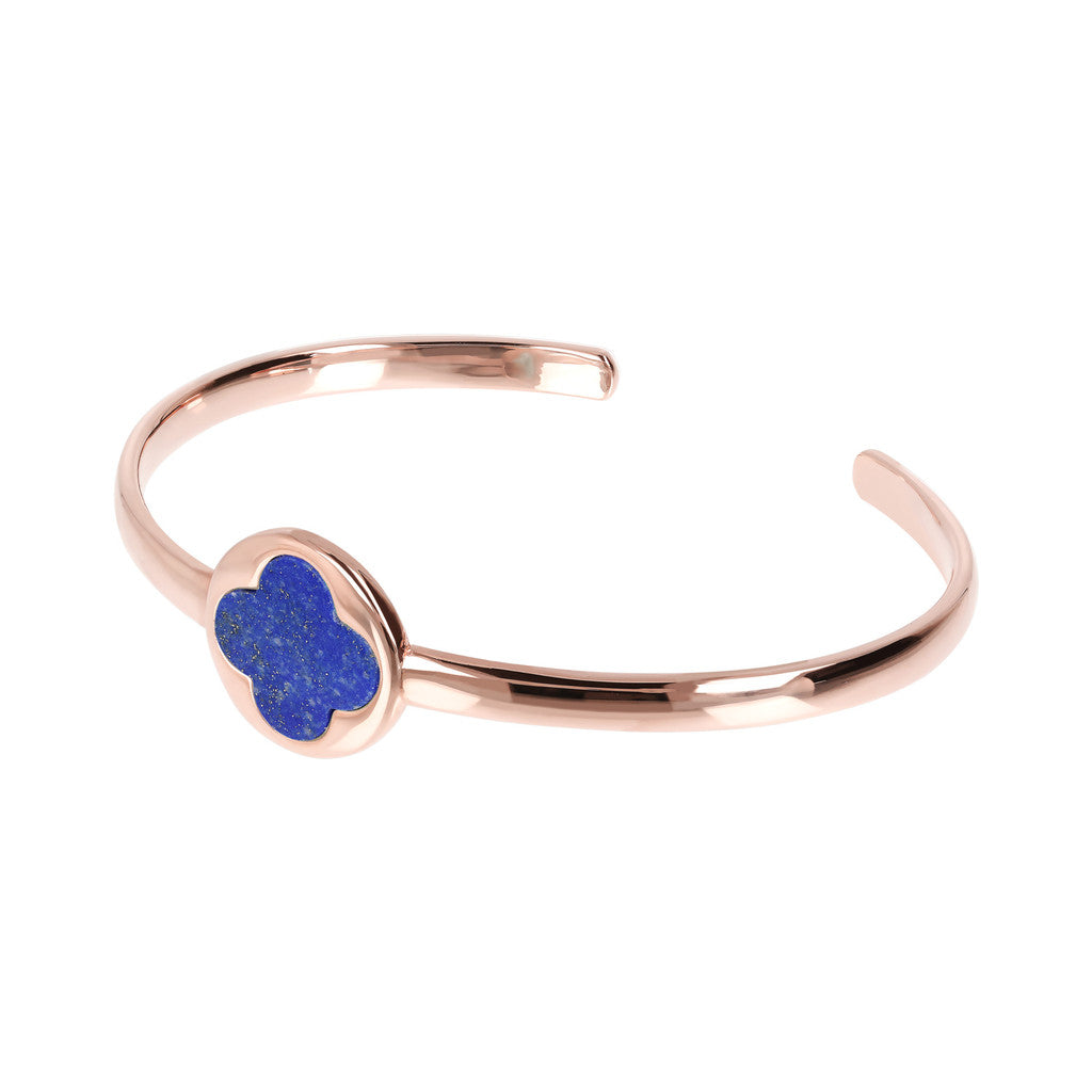 Genune Gemstone Four Leaf Clover Open Bangle LAPIS
