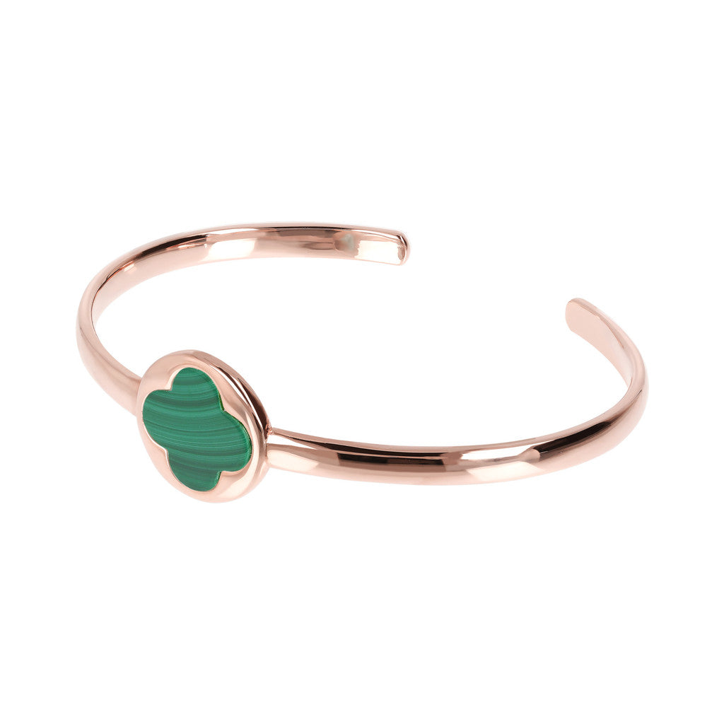Genune Gemstone Four Leaf Clover Open Bangle MALACHITE
