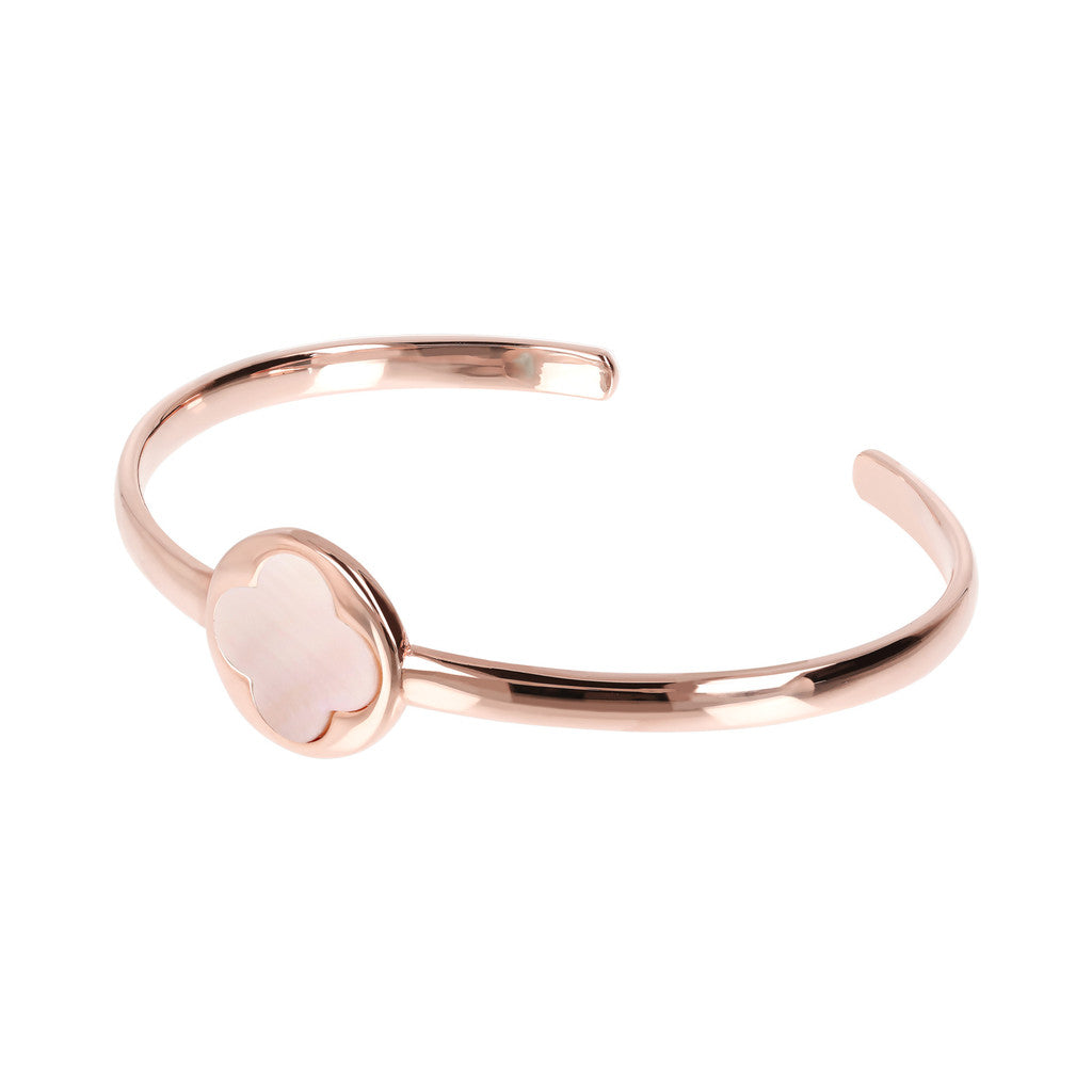 Genune Gemstone Four Leaf Clover Open Bangle PINK MOP