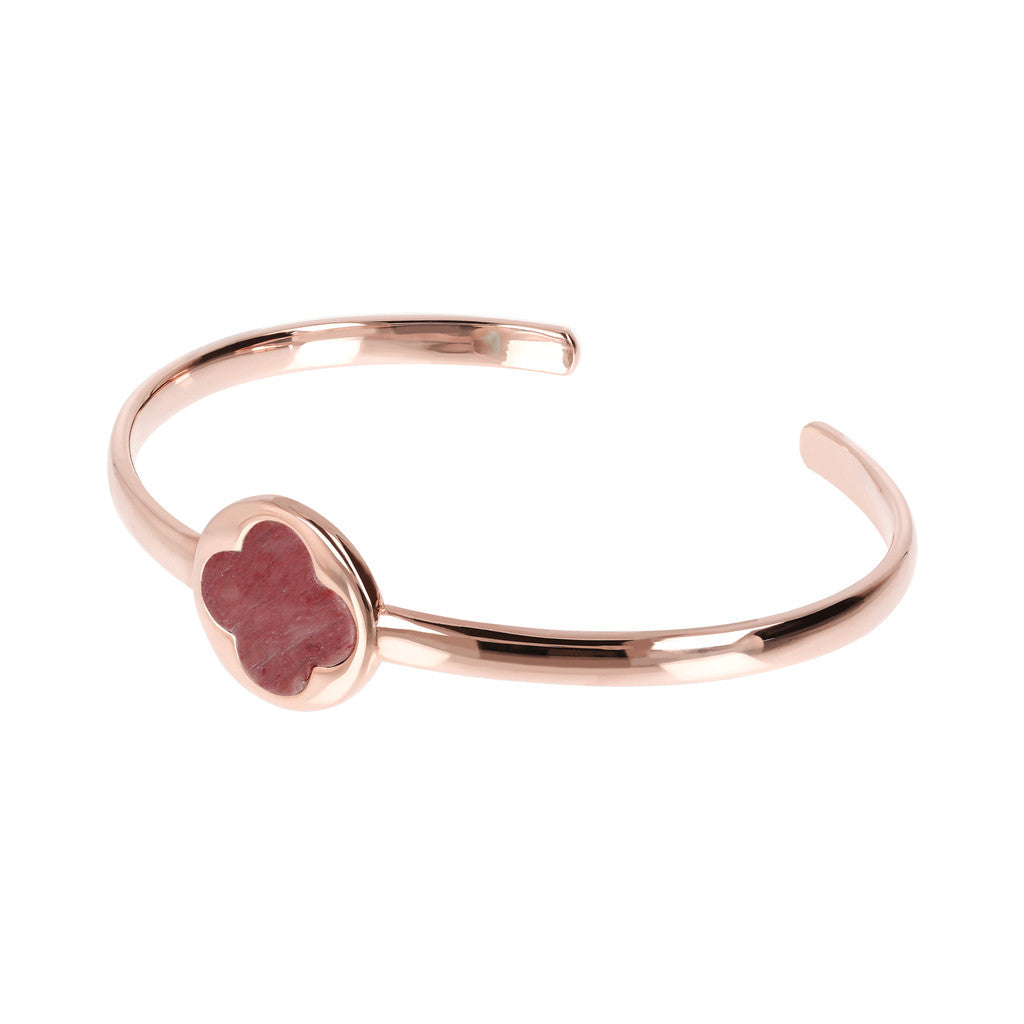 Genune Gemstone Four Leaf Clover Open Bangle