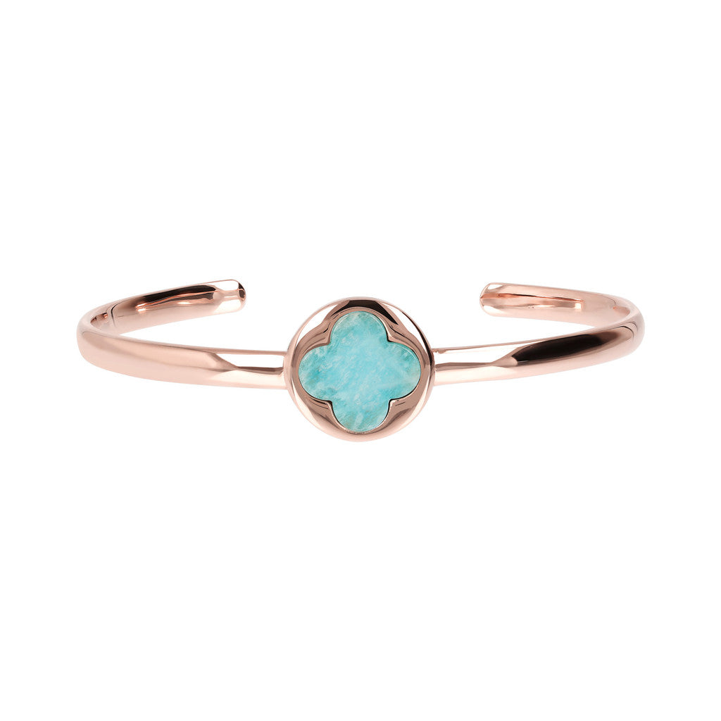 Genune Gemstone Four Leaf Clover Open Bangle side