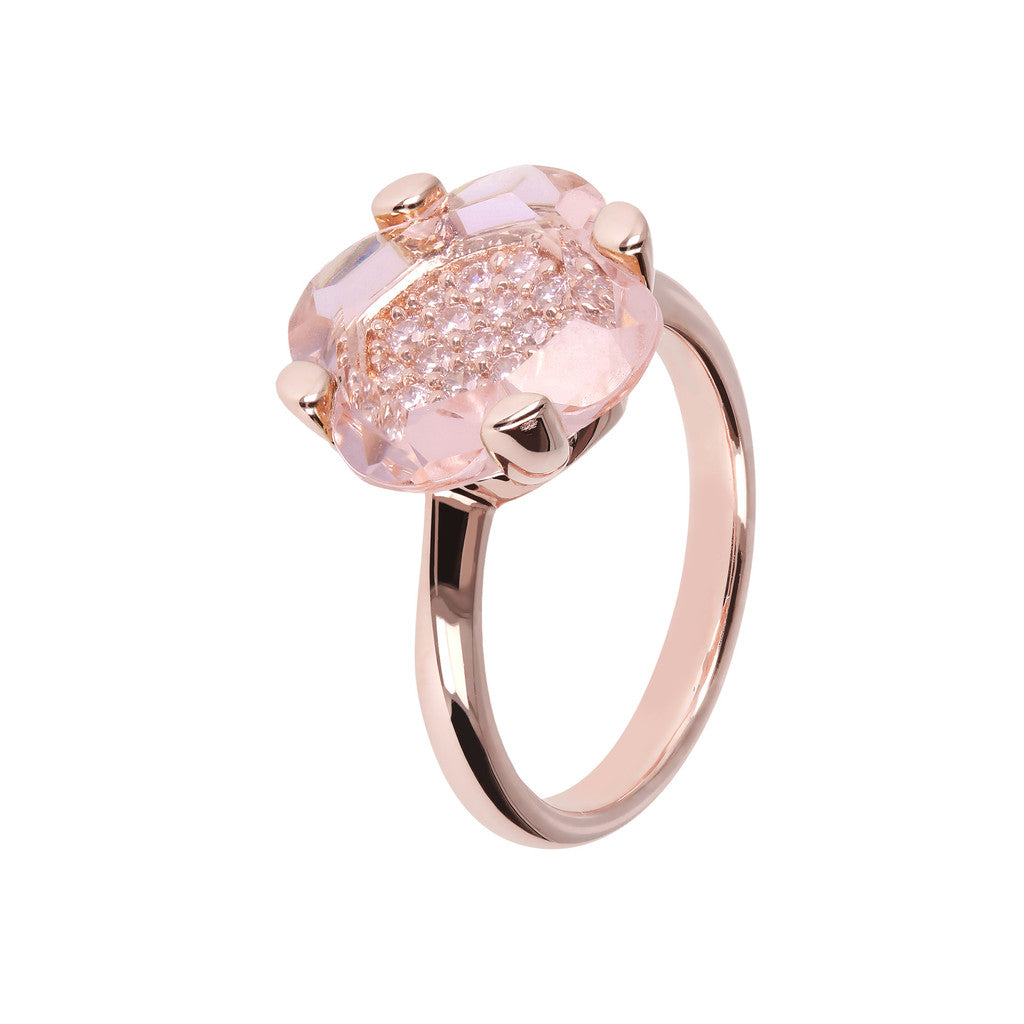 Geometrical Flower Ring H.T.ROSE MORGANITE+WCZ