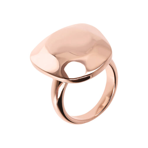Bronzallure | Rings | Hammered and Polished Golden Rosé Ring
