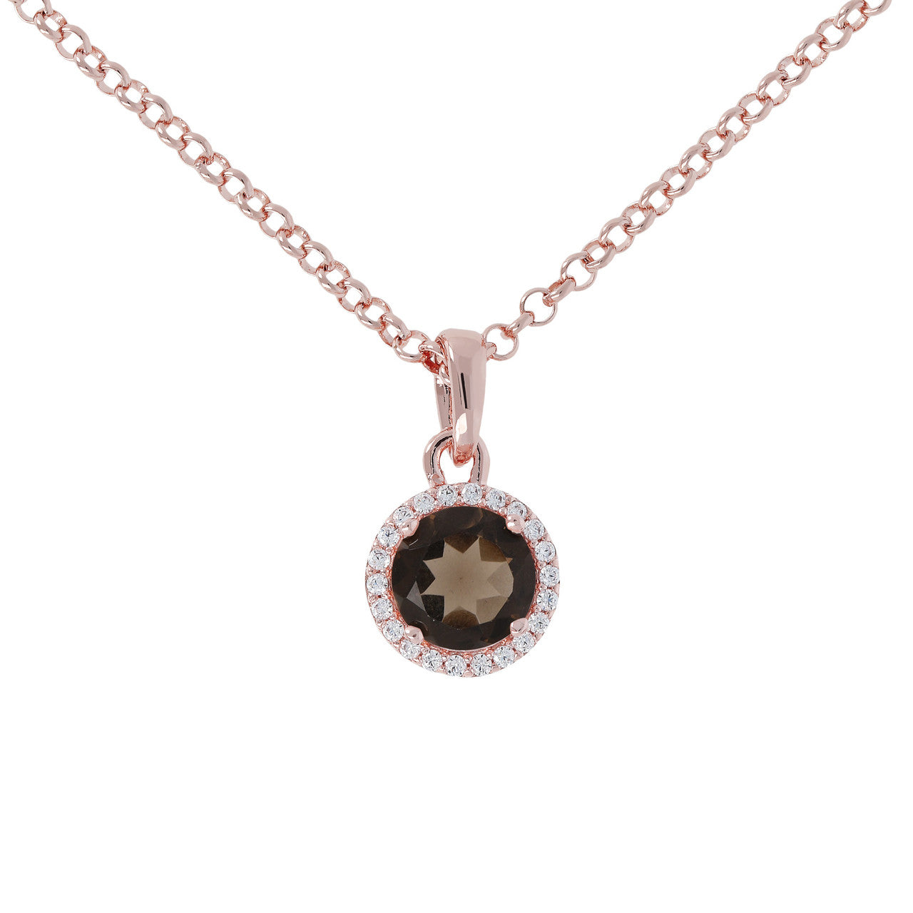 Halo Pendant Necklace SMOKY QUARTZ