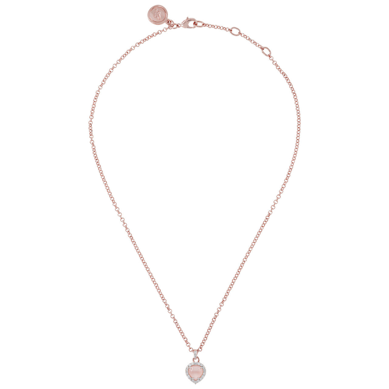 Heart Pendant Necklace CZ PINK CHALCEDONY from above