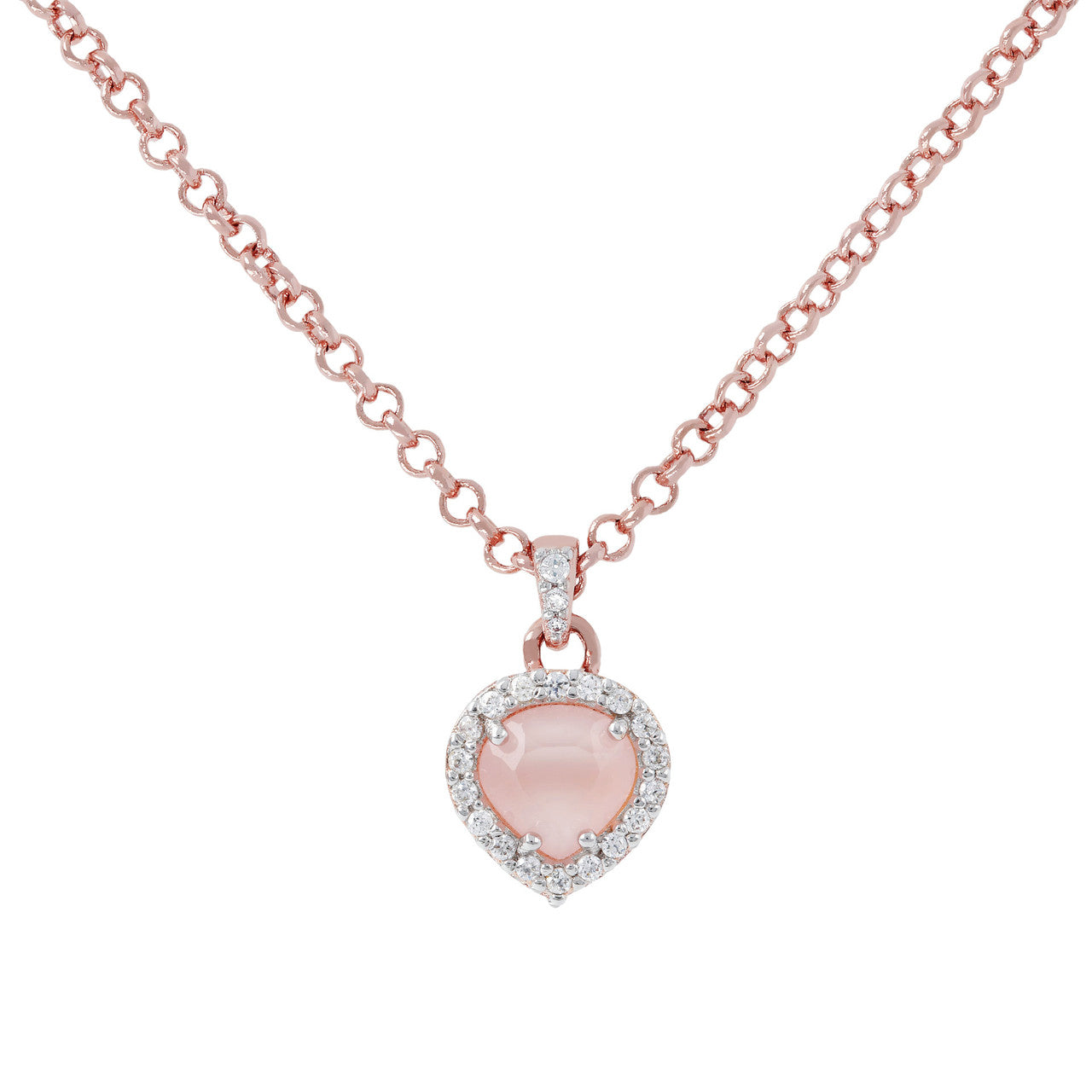Heart Pendant Necklace CZ PINK CHALCEDONY