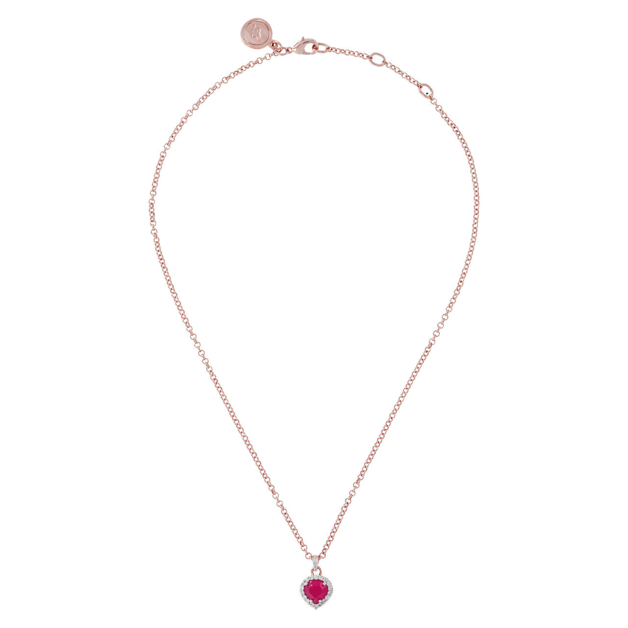 Heart Pendant Necklace CZ RUBY CHALCEDONY from above