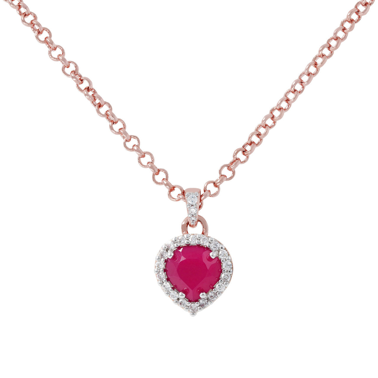 Heart Pendant Necklace CZ RUBY CHALCEDONY