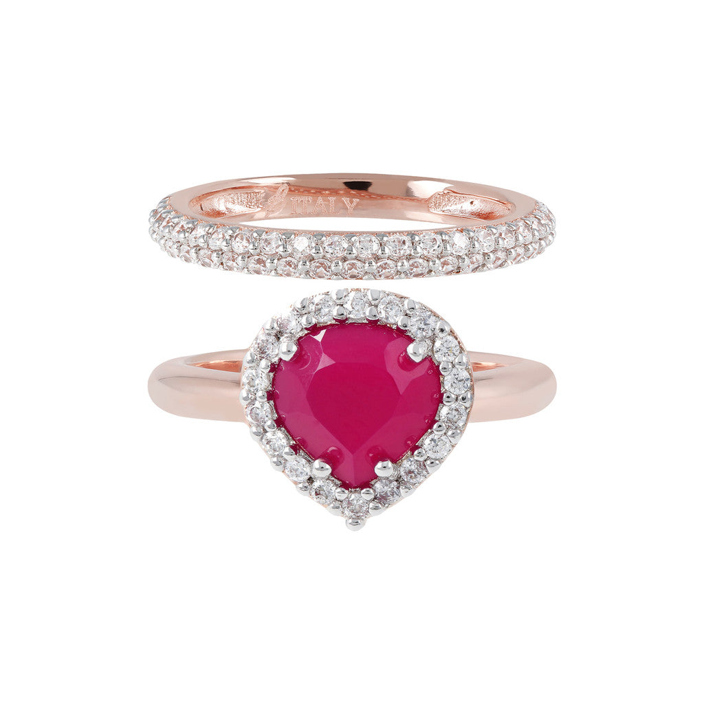 Heart Ring Set RUBY CHALCEDONY setting