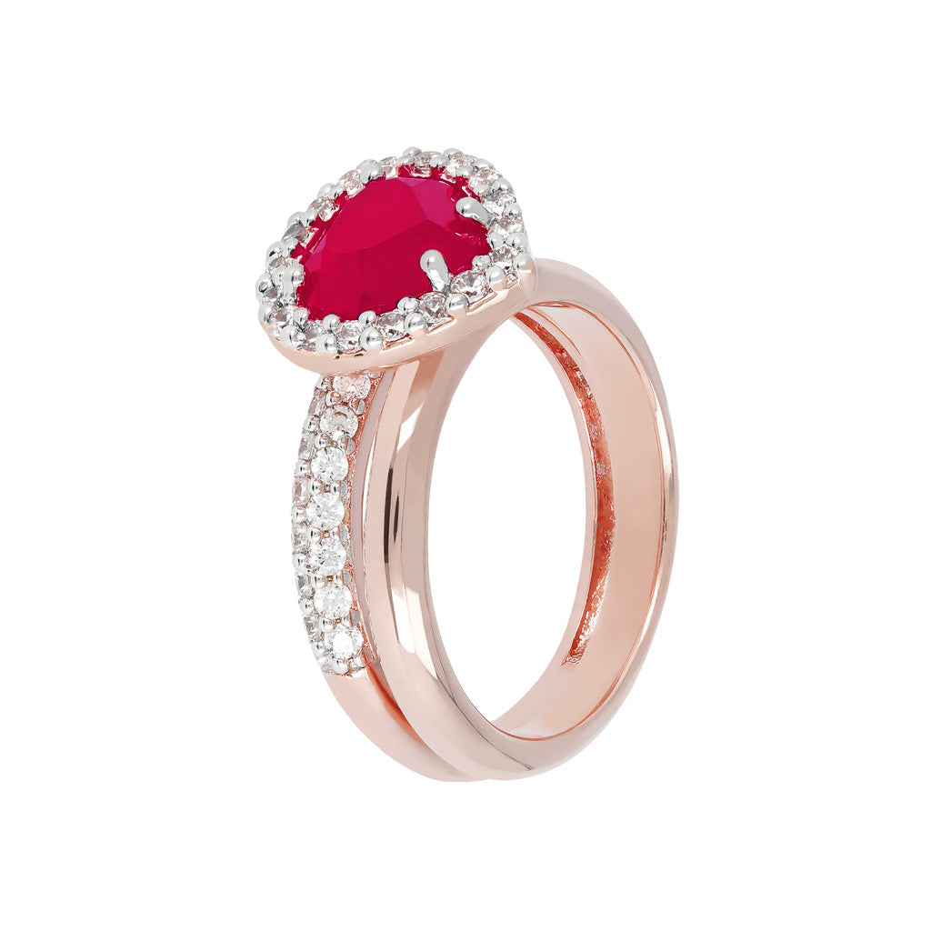 Heart Ring Set RUBY CHALCEDONY