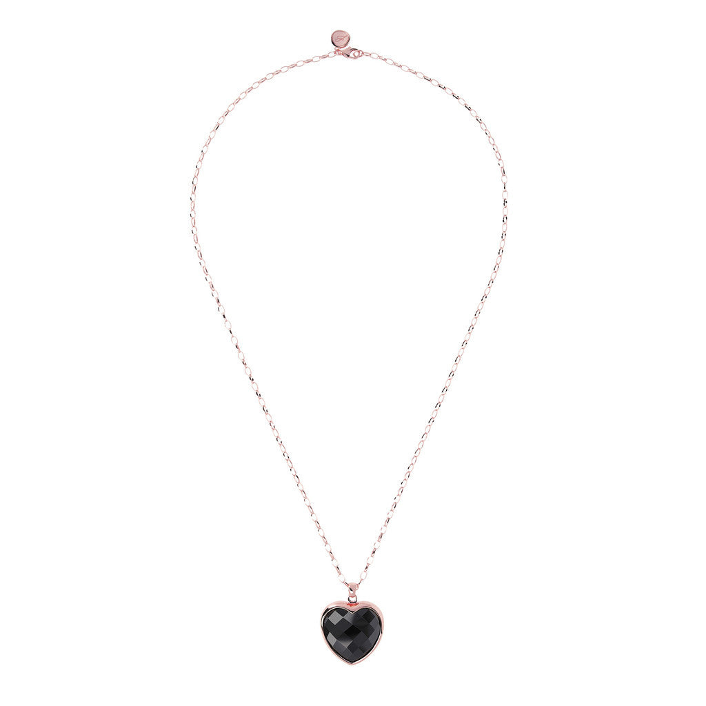 Heart pendant necklace BLACK ONYX from above