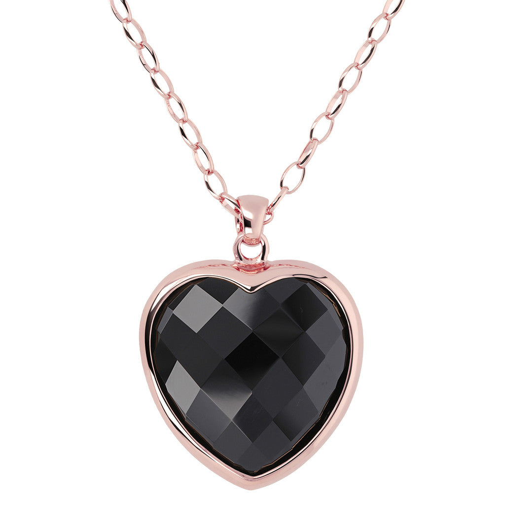 Heart pendant necklace BLACK ONYX