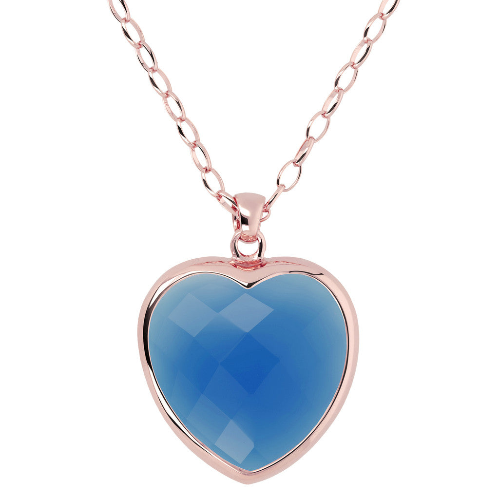 Heart pendant necklace BLUE CHALCEDONY