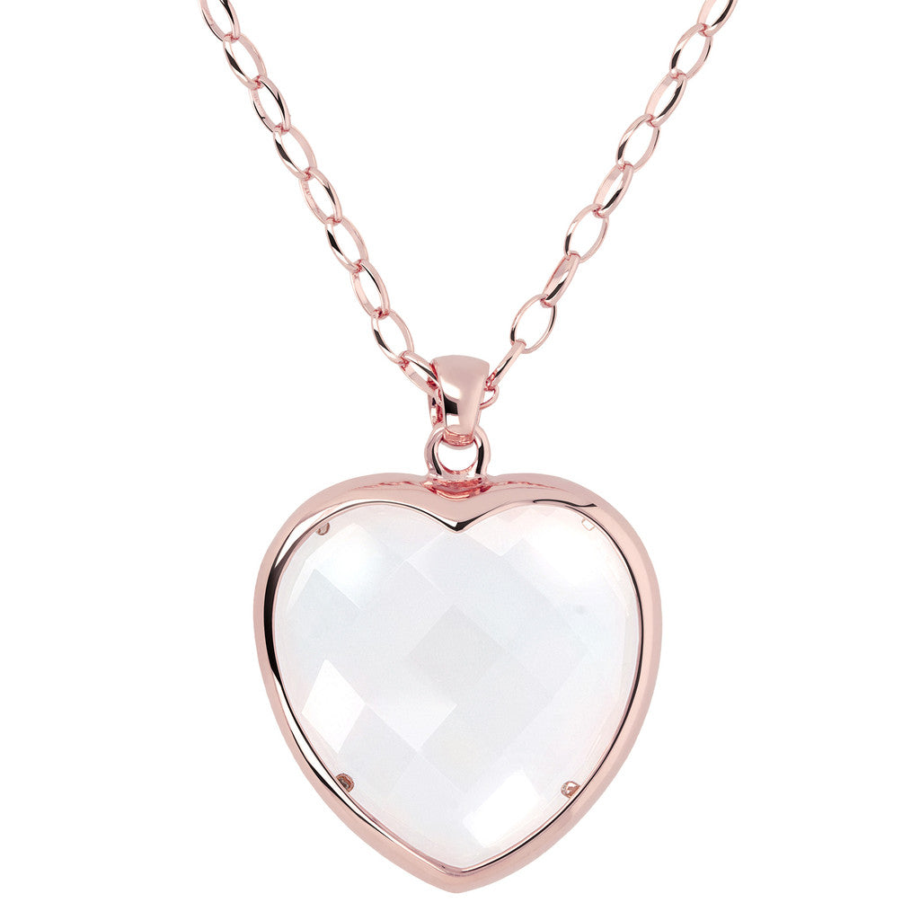 Heart pendant necklace CRYSTAL QUARTZ