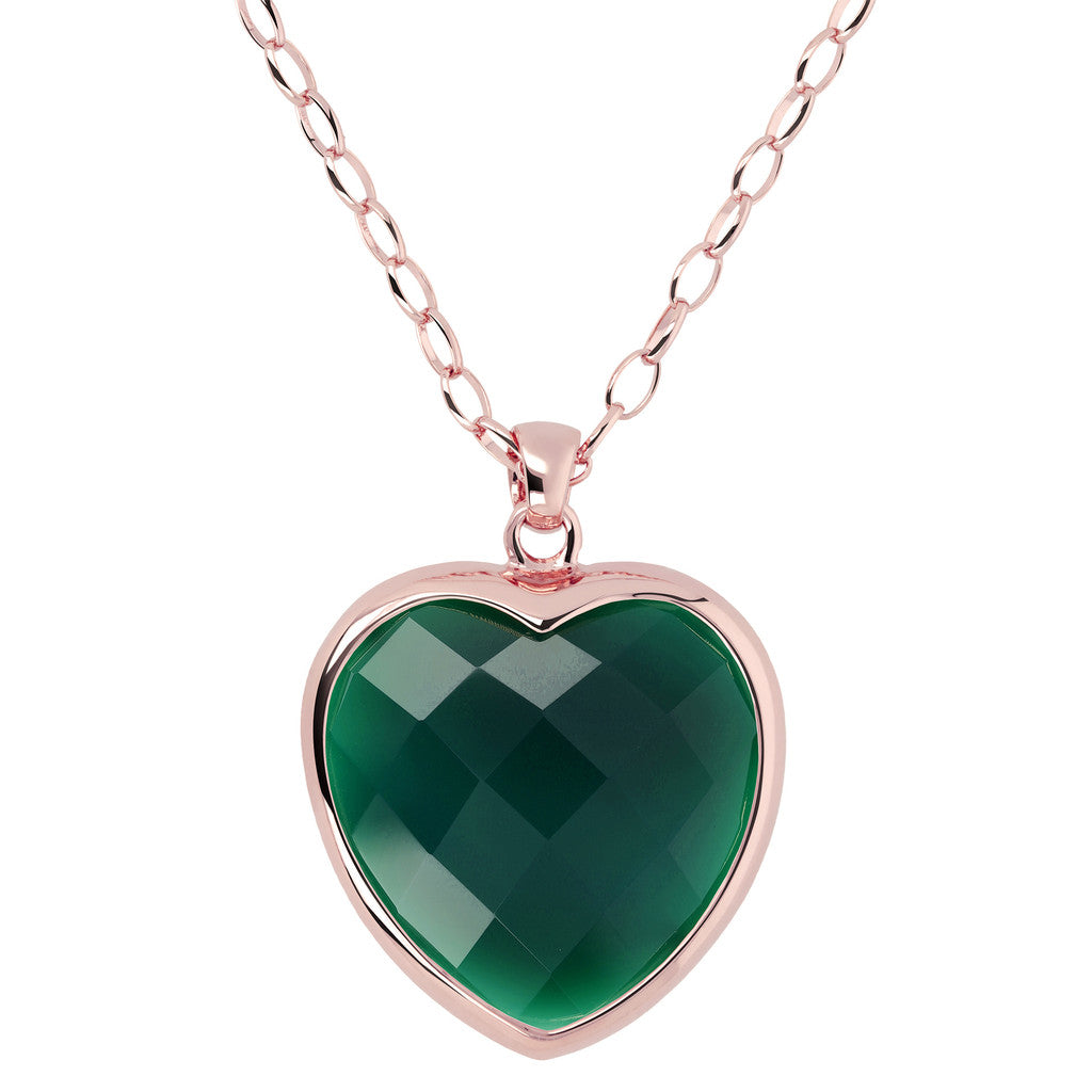 Heart pendant necklace GREEN CHALCEDONY