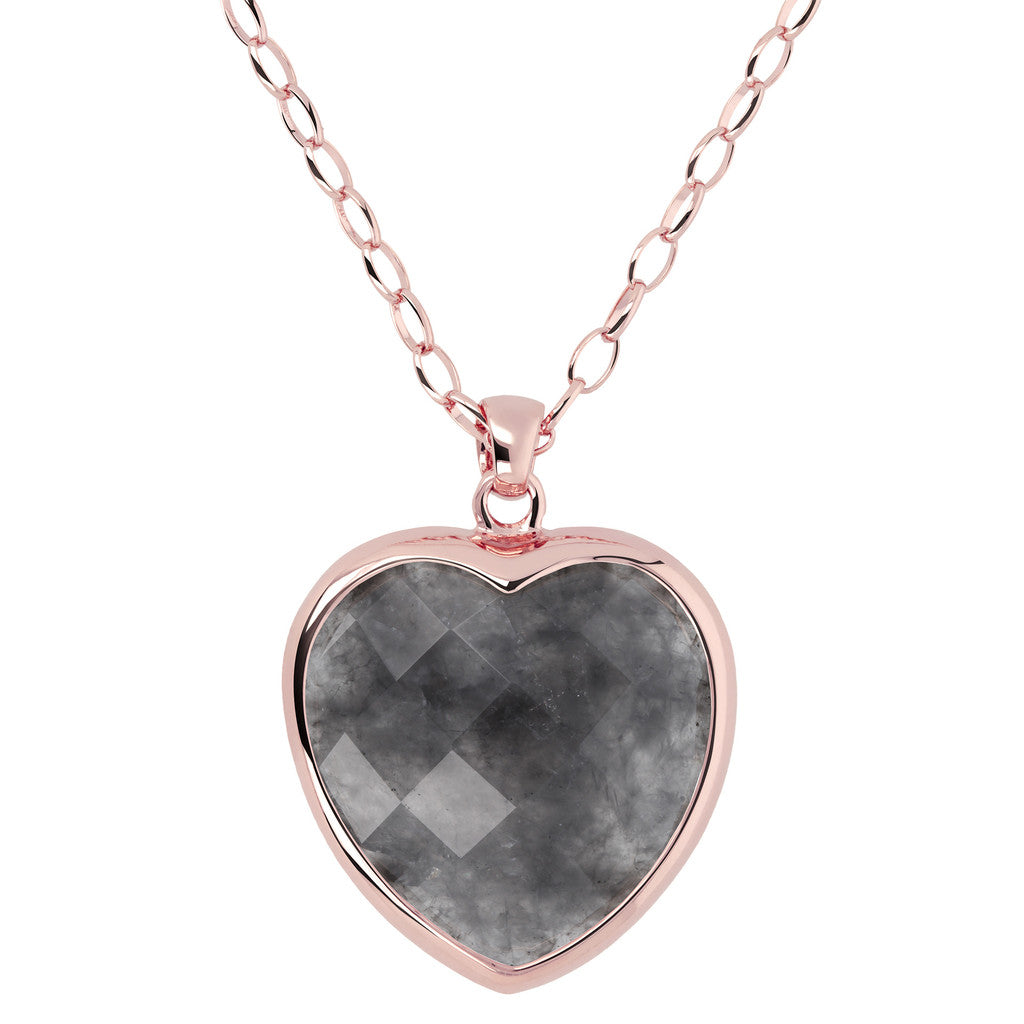 Heart pendant necklace GREY QUARTZ