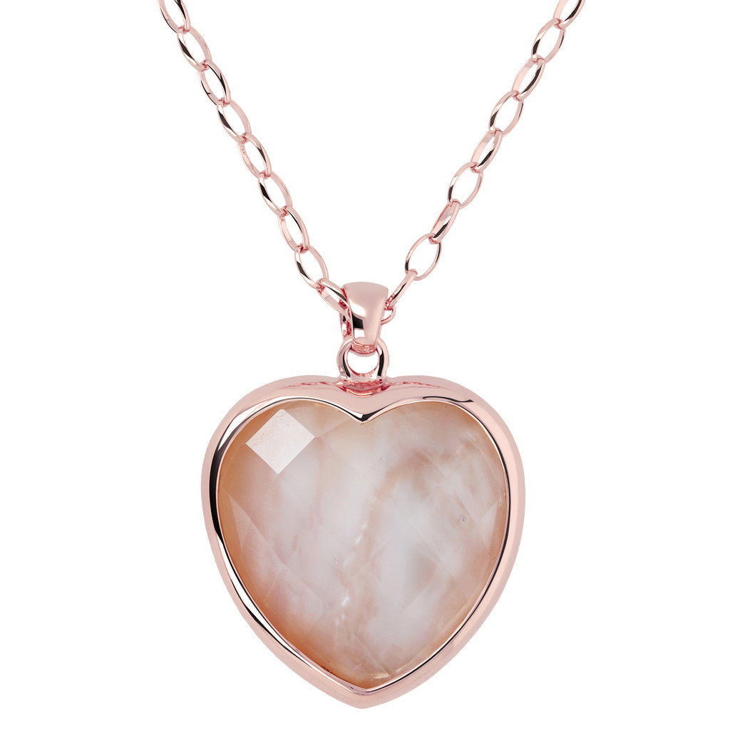 Heart pendant necklace PINK MOP