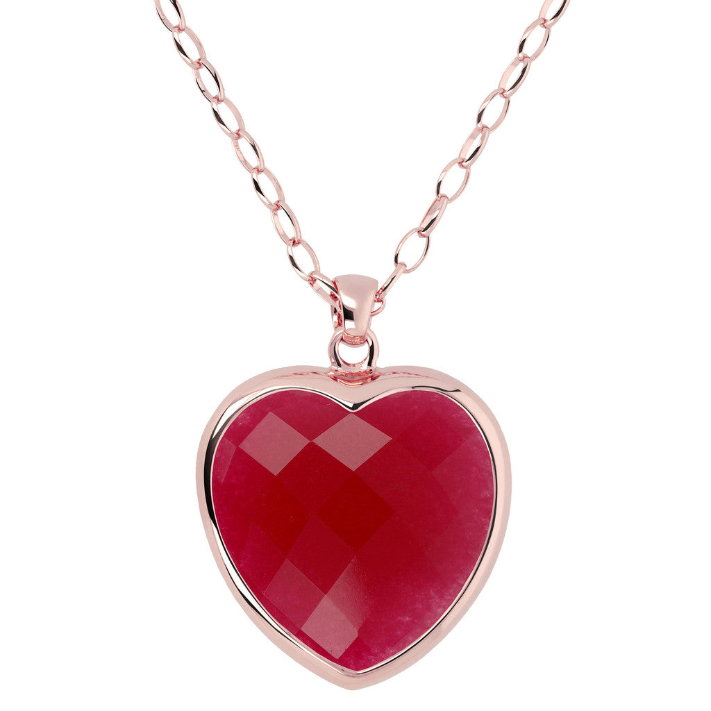 Heart pendant necklace PLUM AGATE