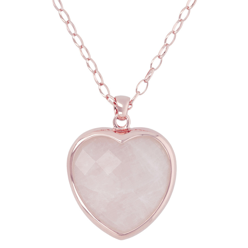 Heart pendant necklace ROSE QUARTZ