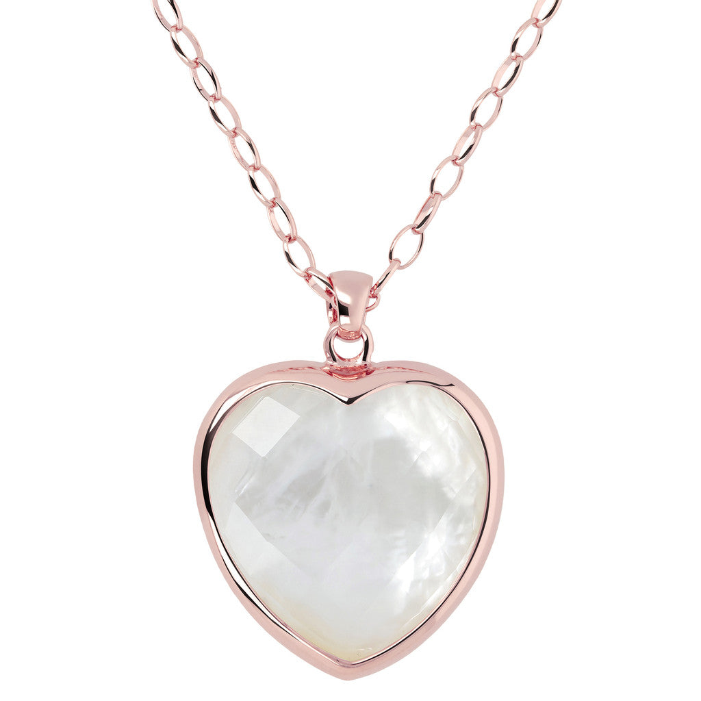 Heart pendant necklace WHITE MOP