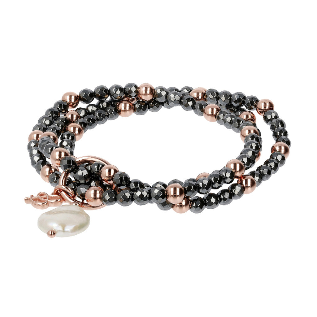 Hematite and Pearl Multirow Bracelet