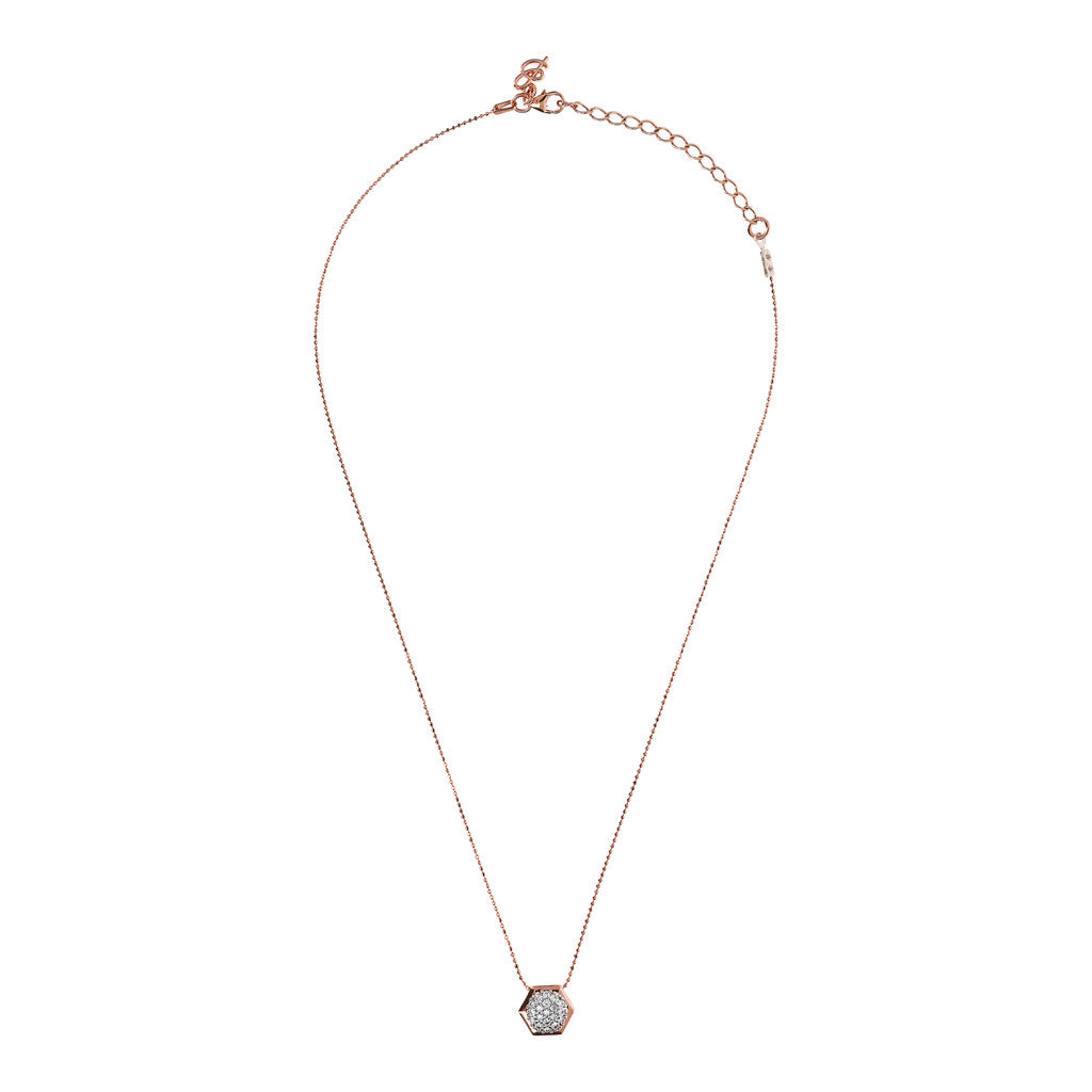 Hexagon CZ Necklace from above