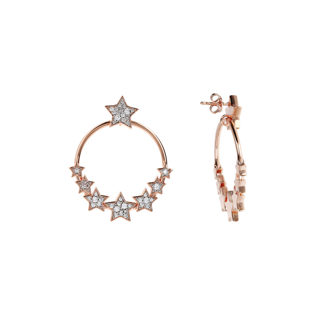 Hoop Earrings Stars front and side