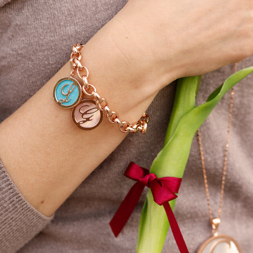 Bronzallure | Charms | Letter Charm in Red Fossil Wood