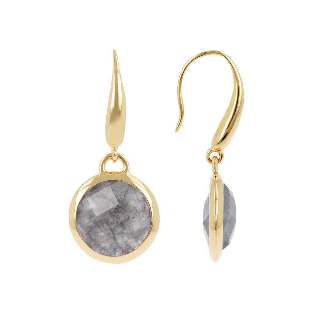 INCANTO BRONZALLURE GOLDEN FACETED STONE DANGLE EARRING - WSBZ00308Y GREY QUARTZ front and side