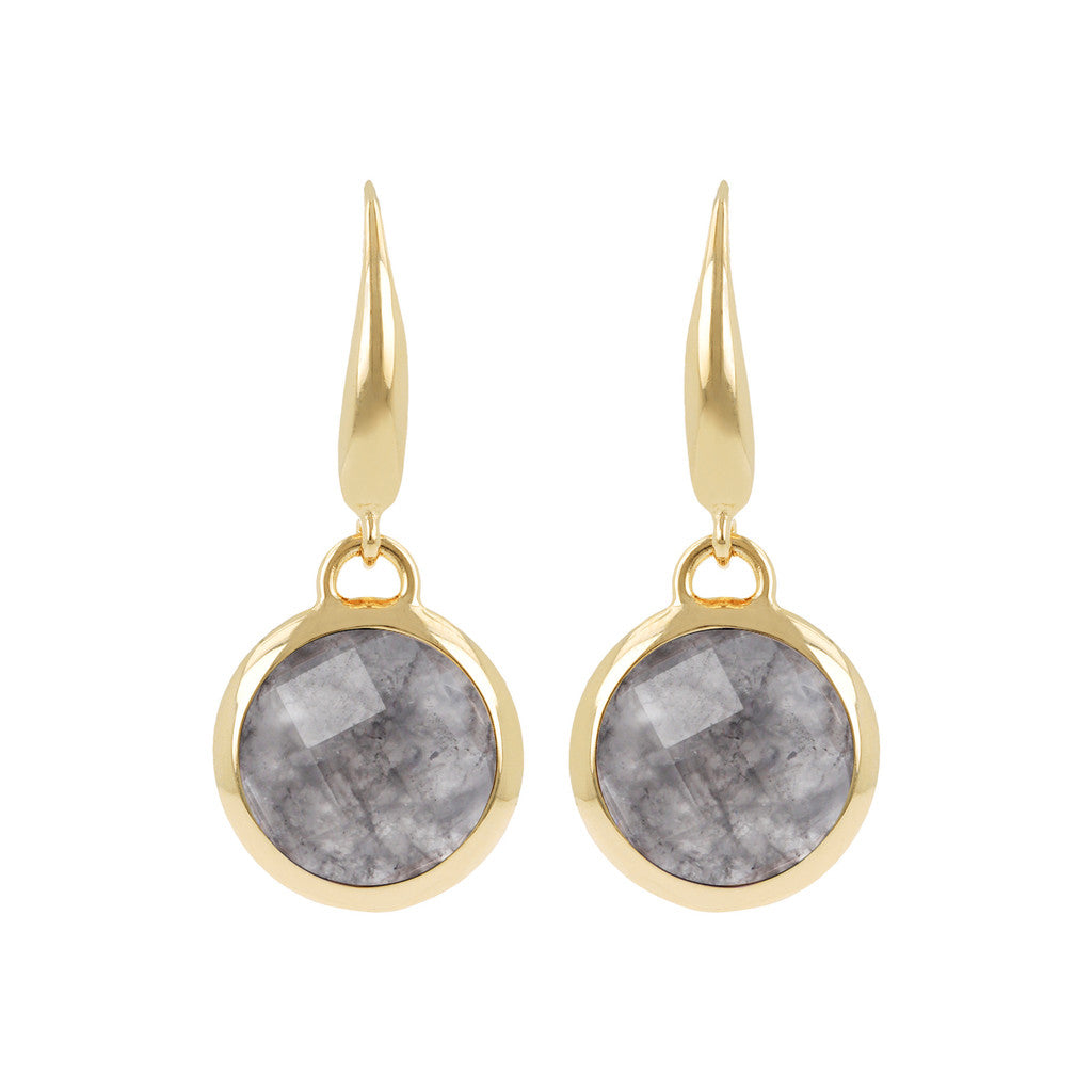INCANTO BRONZALLURE GOLDEN FACETED STONE DANGLE EARRING - WSBZ00308Y GREY QUARTZ