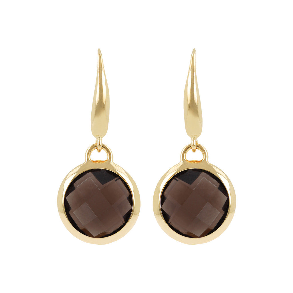 INCANTO BRONZALLURE GOLDEN FACETED STONE DANGLE EARRING - WSBZ00308Y SMOKY QUARTZ