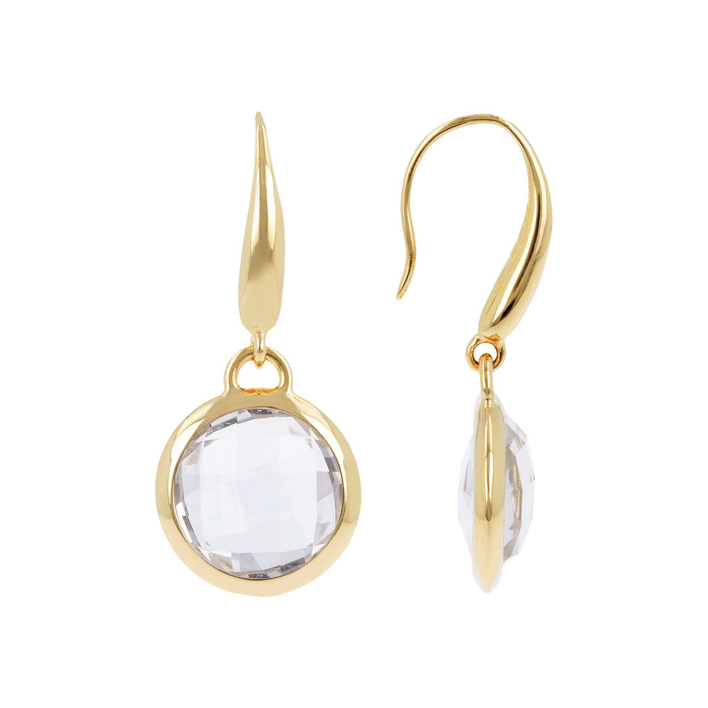 INCANTO BRONZALLURE GOLDEN FACETED STONE DANGLE EARRING - WSBZ00308Y front and side