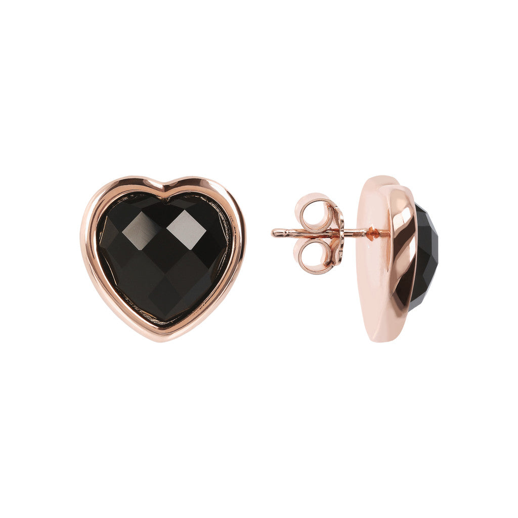 INCANTO HEART EARRINGS WITH FACETED GEMSTONE - WSBZ01563 BLACK ONYX front and side