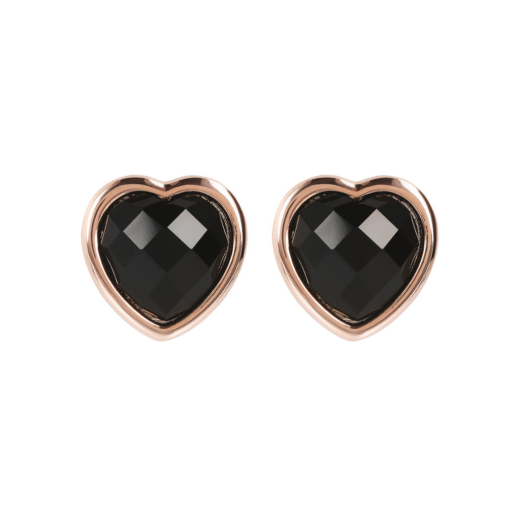 INCANTO HEART EARRINGS WITH FACETED GEMSTONE - WSBZ01563 BLACK ONYX