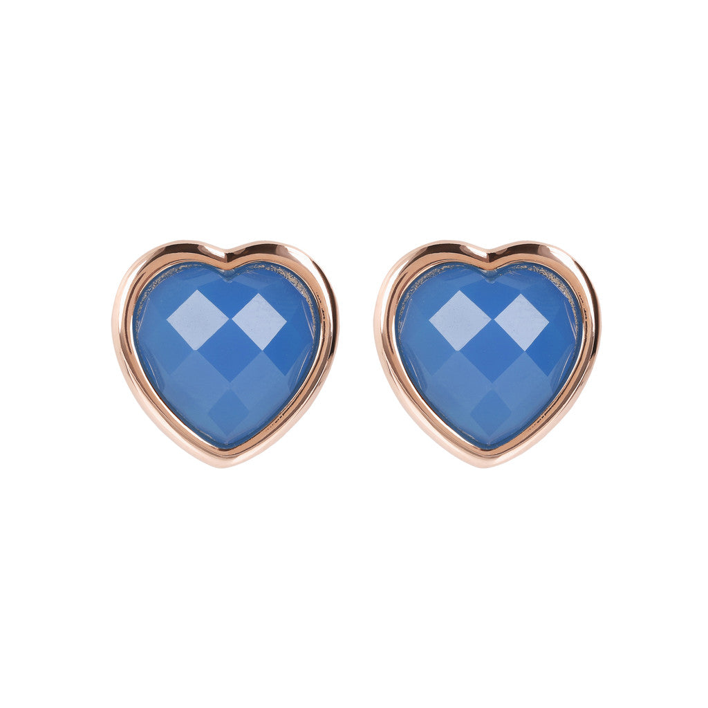 INCANTO HEART EARRINGS WITH FACETED GEMSTONE - WSBZ01563 BLUE LACE AGATE