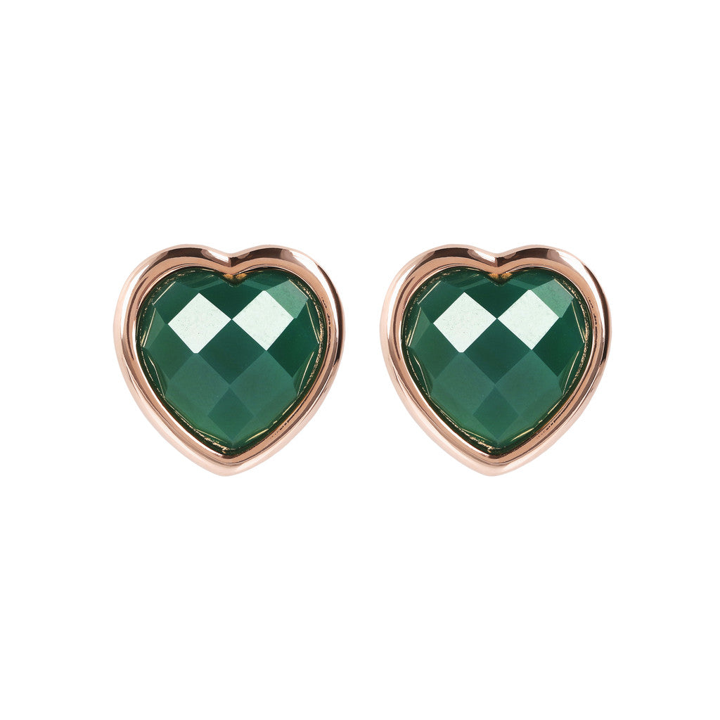 INCANTO HEART EARRINGS WITH FACETED GEMSTONE - WSBZ01563 GREEN CHALCEDONY