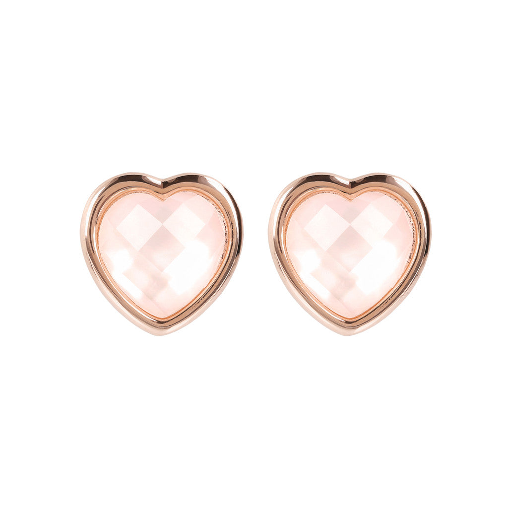 INCANTO HEART EARRINGS WITH FACETED GEMSTONE - WSBZ01563 PINK MOP