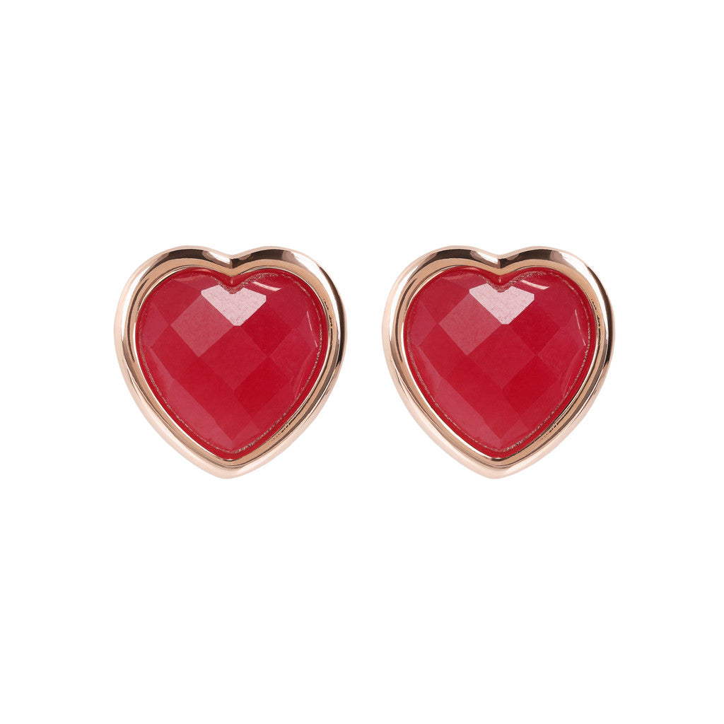 Heart Earrings in Natural Stone