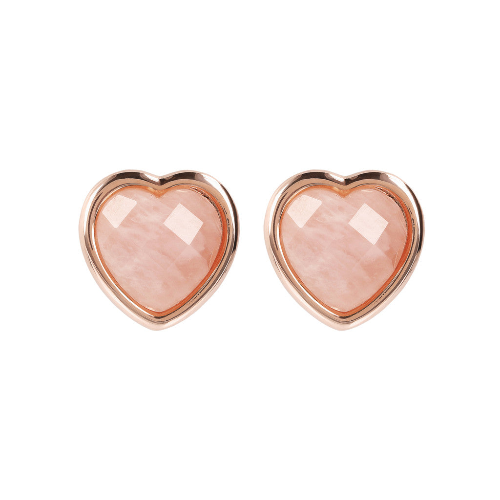 INCANTO HEART EARRINGS WITH FACETED GEMSTONE - WSBZ01563 ROSE QUARTZ