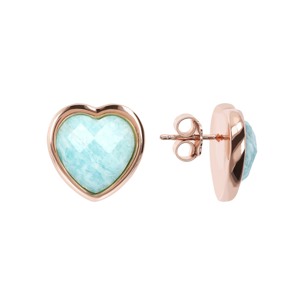 INCANTO HEART EARRINGS WITH FACETED GEMSTONE - WSBZ01563 front and side