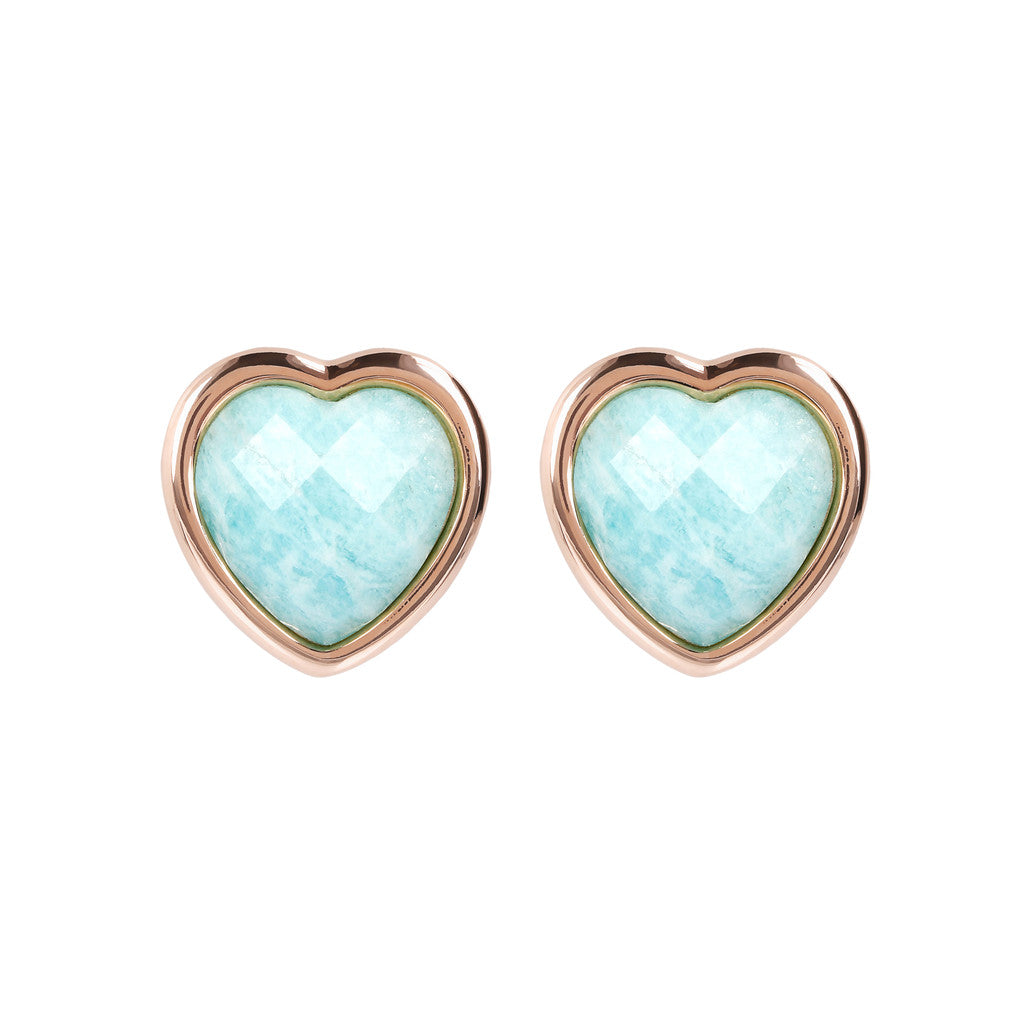 INCANTO HEART EARRINGS WITH FACETED GEMSTONE - WSBZ01563