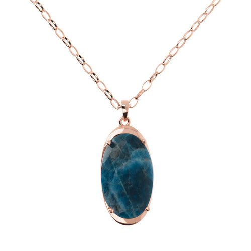 Bronzallure | Necklaces | Long Oval Pendant Necklace with Genuine Stone