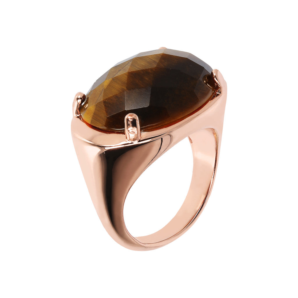 INCANTO RING WITH OVAL FACETED GEMSTONE - WSBZ01796 TIGER EYE
