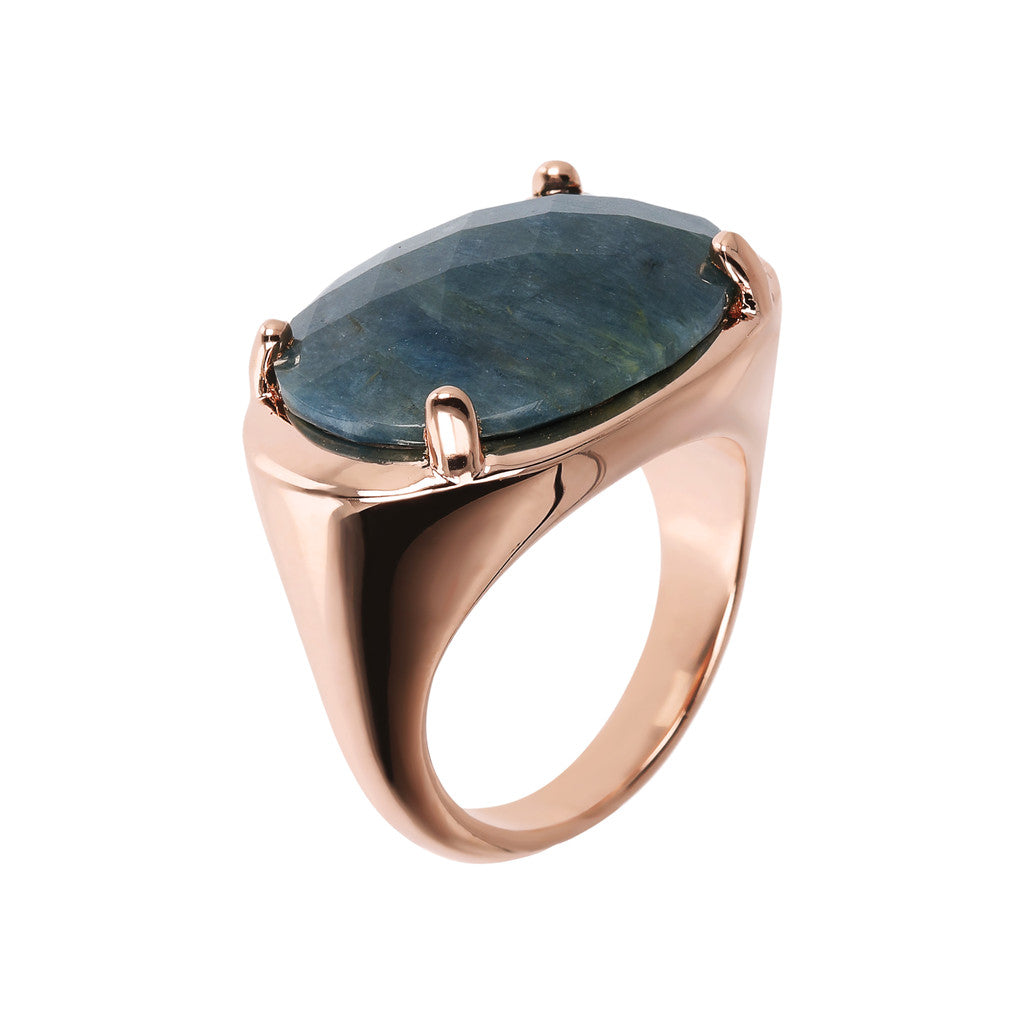 Bronzallure | Rings | Oval Ring with Natural Faceted Stone