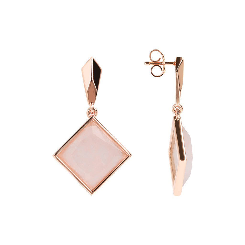 INCANTO SQUARED GEMSTONE EARRINGS - WSBZ01606 ROSE QUARTZ front and side