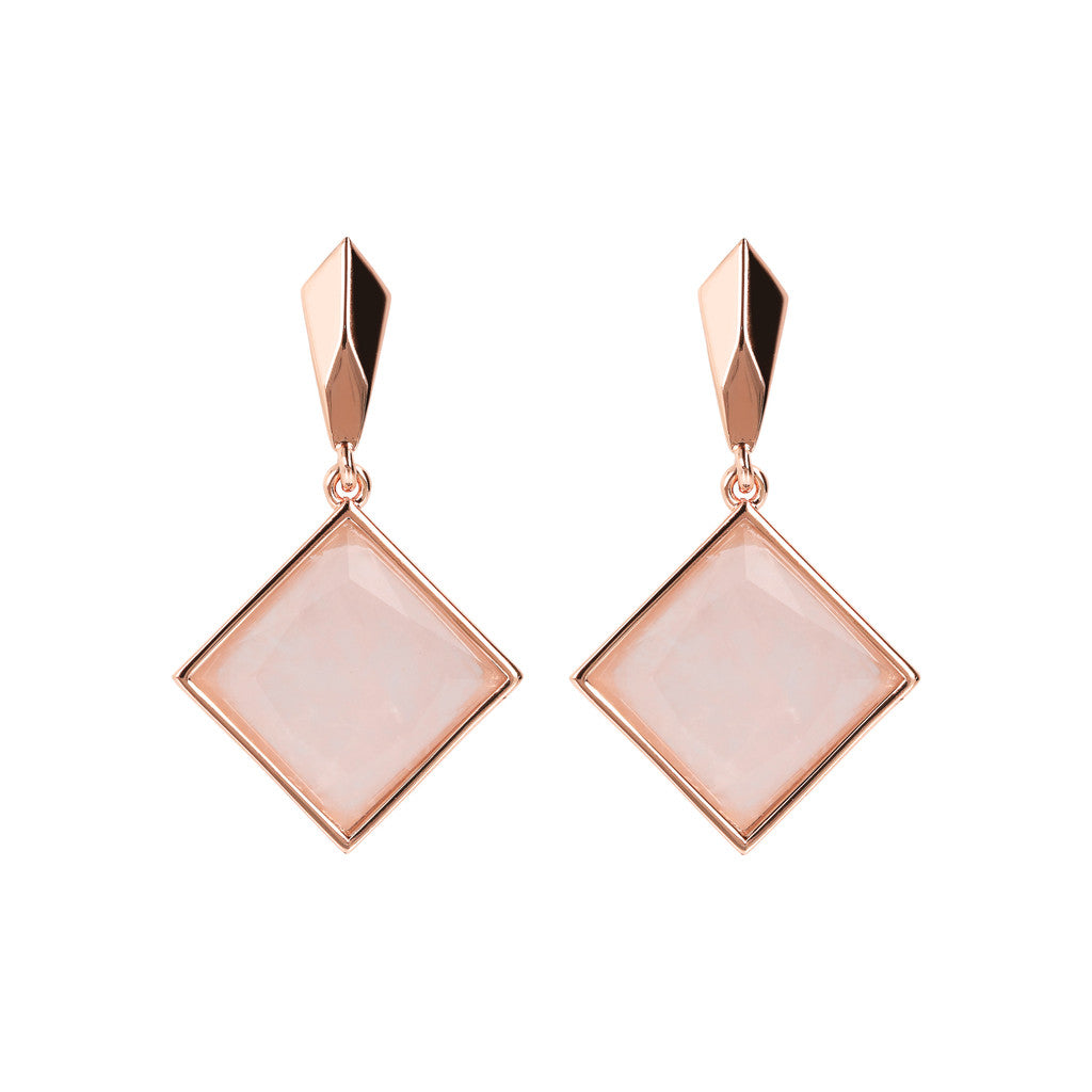 INCANTO SQUARED GEMSTONE EARRINGS - WSBZ01606 ROSE QUARTZ