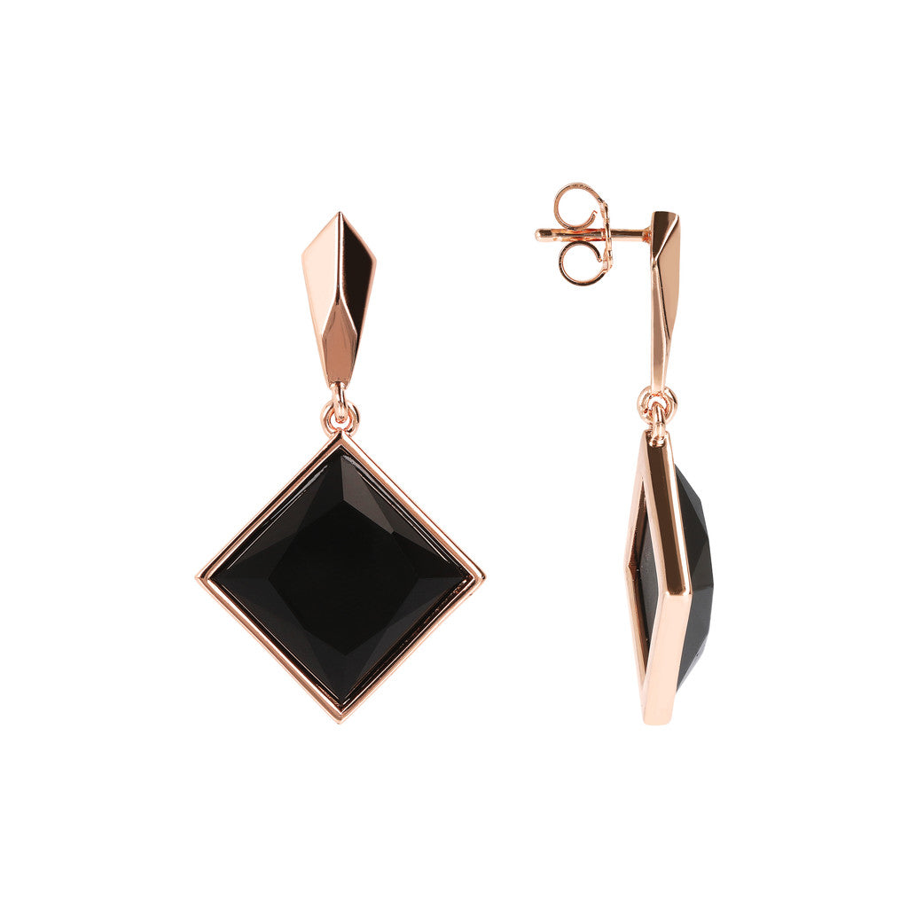 INCANTO SQUARED GEMSTONE EARRINGS - WSBZ01606 front and side