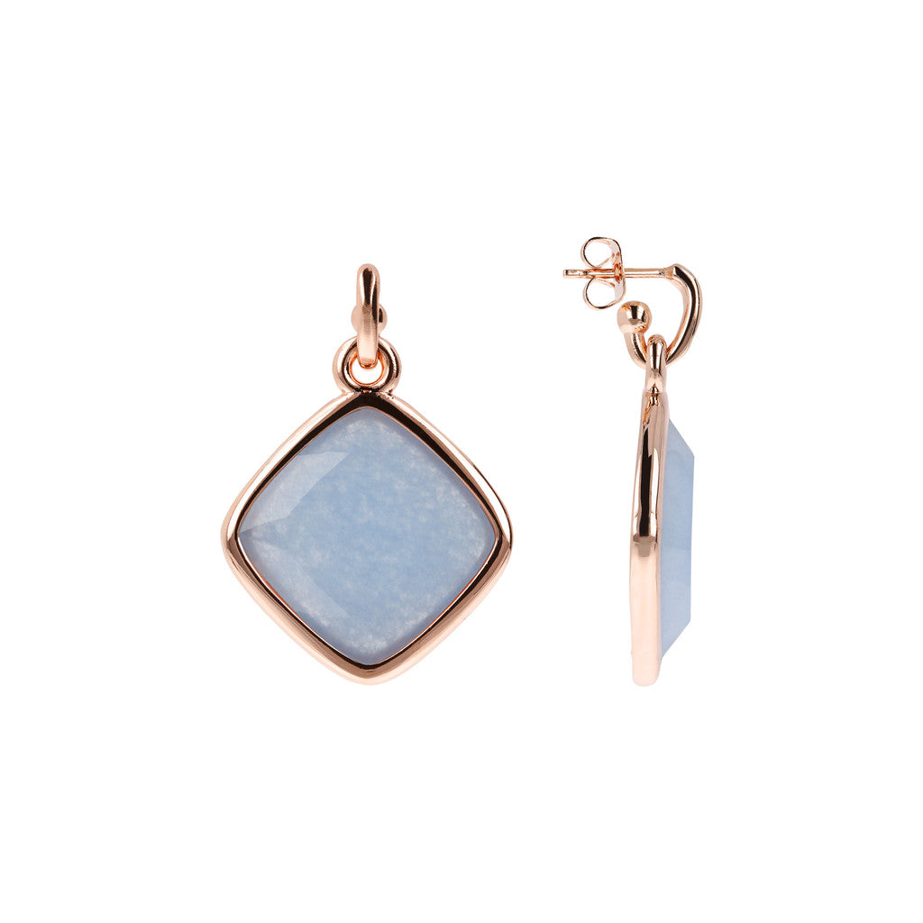 Incanto Rhombus Shape Earrings LIGHT BLUE QUARTZITE front and side