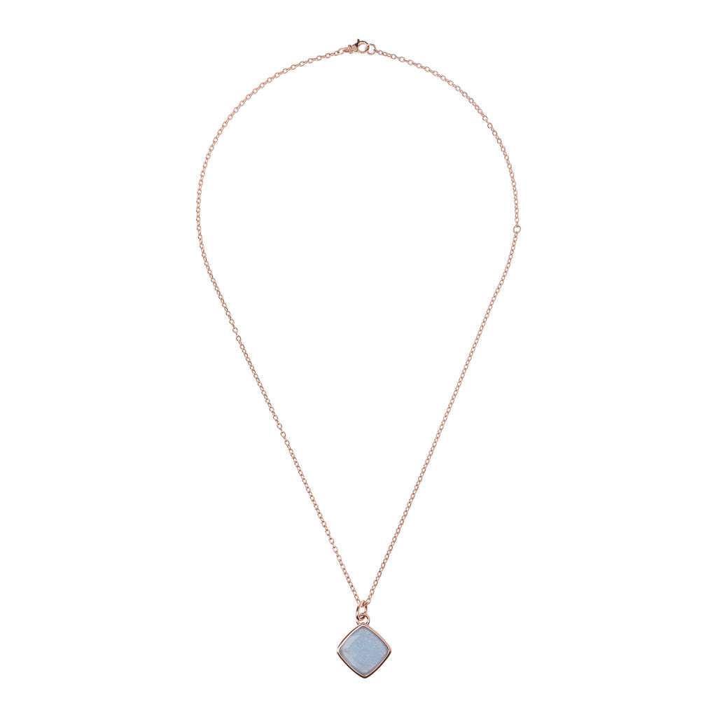Incanto Rhombus Shape Necklace LIGHT BLUE QUARTZITE from above